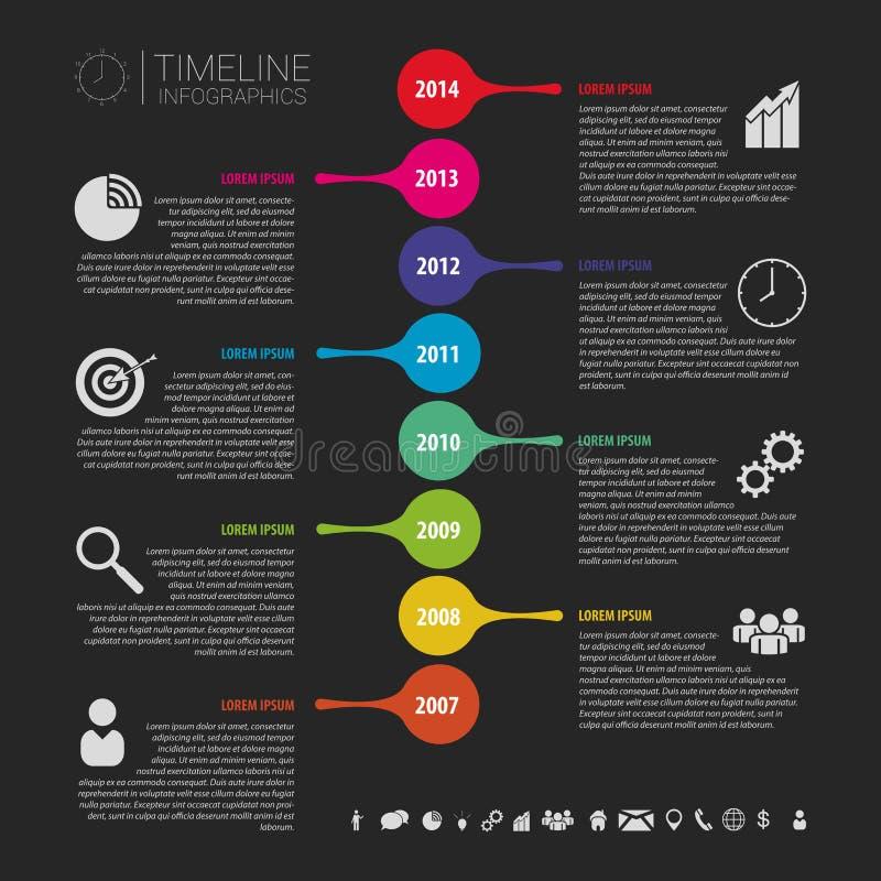 Płaski kolorowy abstrakcjonistyczny linii czasu infographics wektor czerń royalty ilustracja