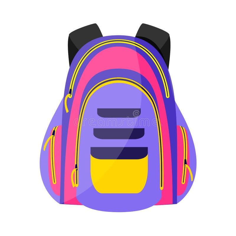 Płaski kolorowy sporta styl, turystyczny plecak, szkolna torba, wektorowa ilustracja royalty ilustracja