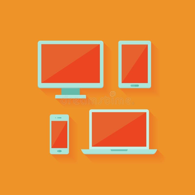 Płaski komputer i urządzenia przenośne ustawiający nad pomarańcze ilustracji