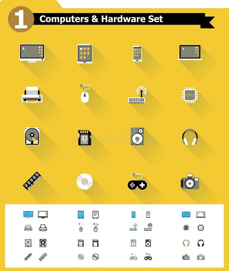 Płaski komputerowego narzędzia ikony set ilustracji