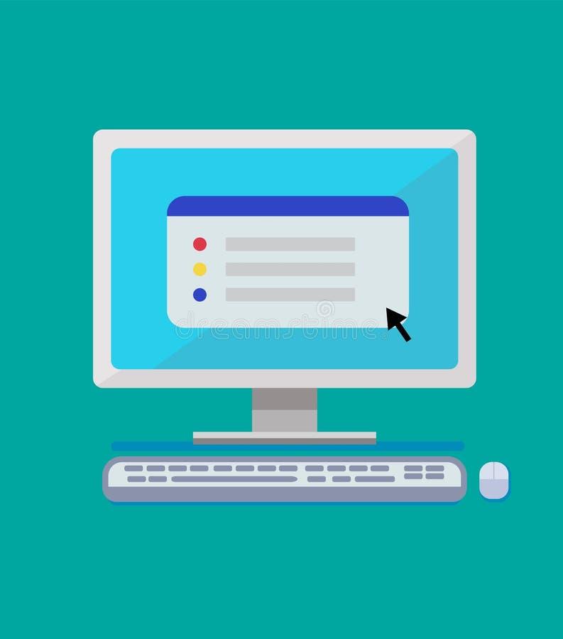 Płaski komputerowy projekt z klawiaturą, myszą i prostą stroną internetową, royalty ilustracja