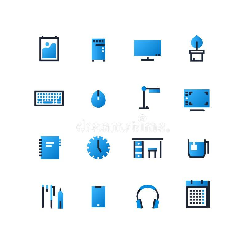 Płaski konturu wektorowy ustawiający stacja robocza elementy Desktop ikony ustawiać Miejsce pracy projekta szablony ilustracja wektor