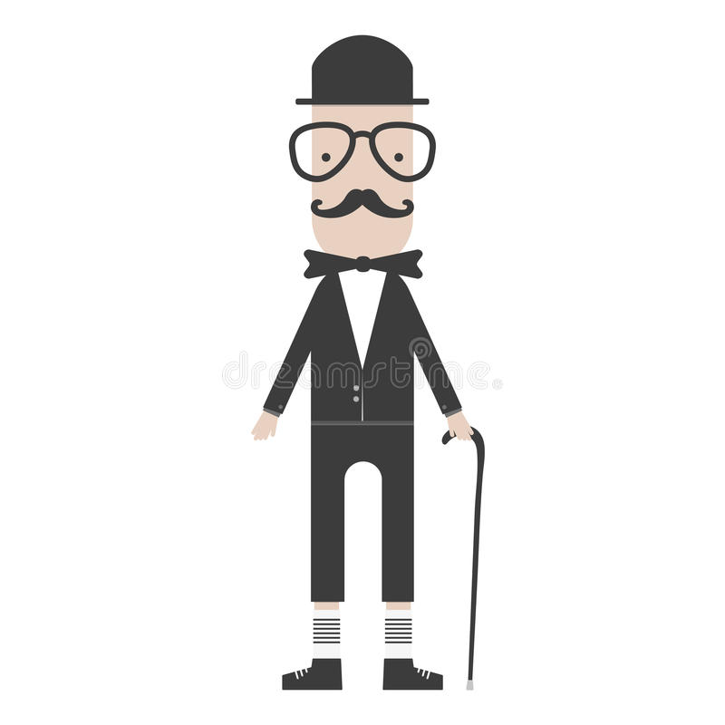 Płaski kreskówka modnisia charakteru dżentelmen z kijem royalty ilustracja