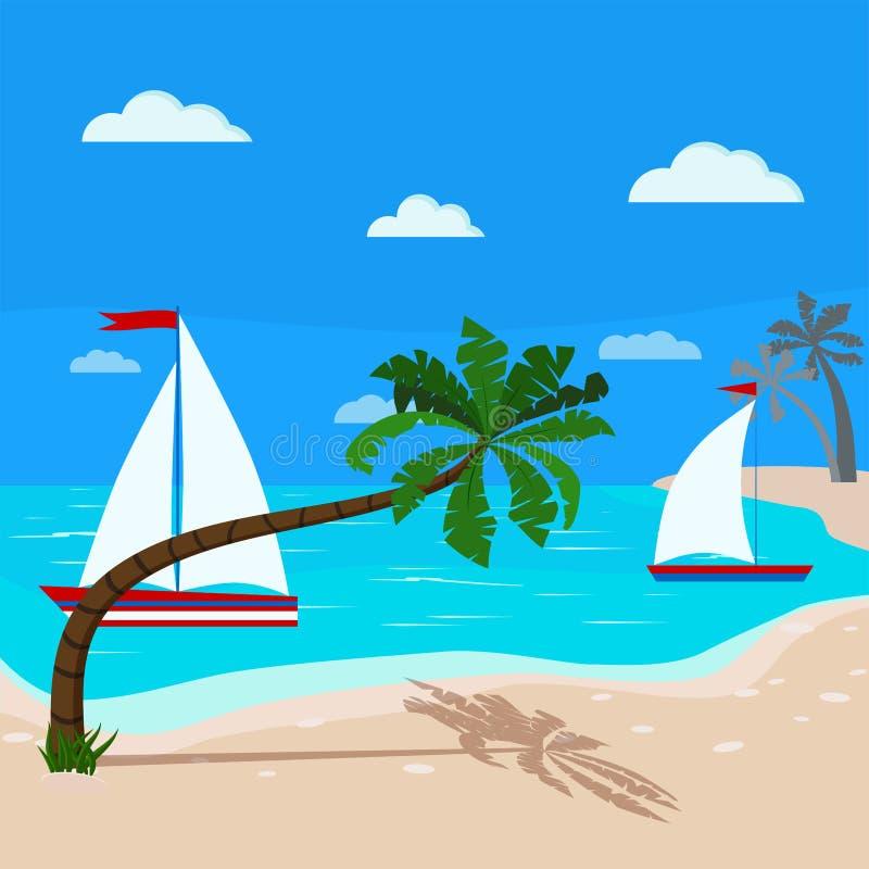 Płaski kreskówka stylu seascape z żaglówkami, chmurami, niebieskim niebem, piasek linią brzegową i coco dokrętki drzewami morzem  ilustracja wektor
