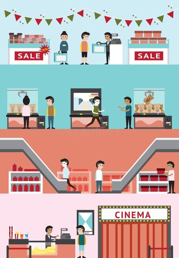 Płaski kreskówka wydziałowego sklepu centrum handlowe buduje wewnętrznego projekt i royalty ilustracja