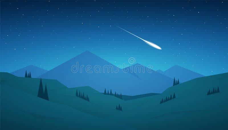 Płaski kreskówki nocy gór krajobraz z wzgórzami, gwiazdami i meteorem na niebie, ilustracji