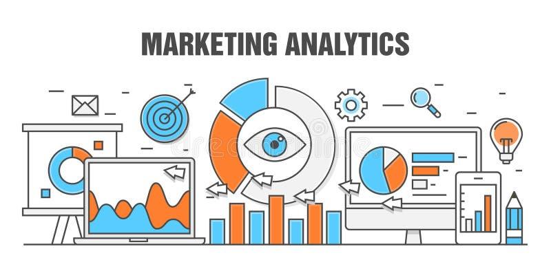 Płaski kreskowej ilustraci pojęcie dla marketingowego analityki sieci sztandaru royalty ilustracja