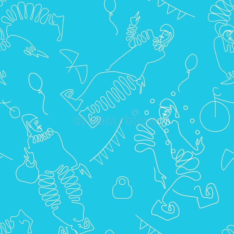 Płaski kreskowy rysunek błazeny z cyrkowymi atrybutami bezszwowy wzoru ilustracja wektor