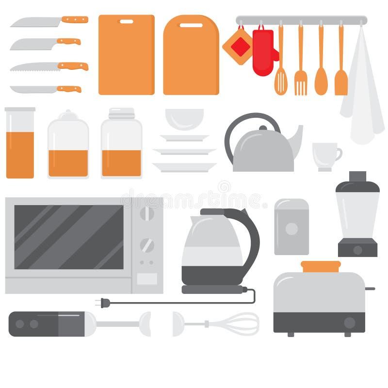 Płaski Kulinarny wyposażenie set Szefa kuchni projekta elementy i narzędzie ikony Kuchni urządzenia i naczynia ilustracja wektor