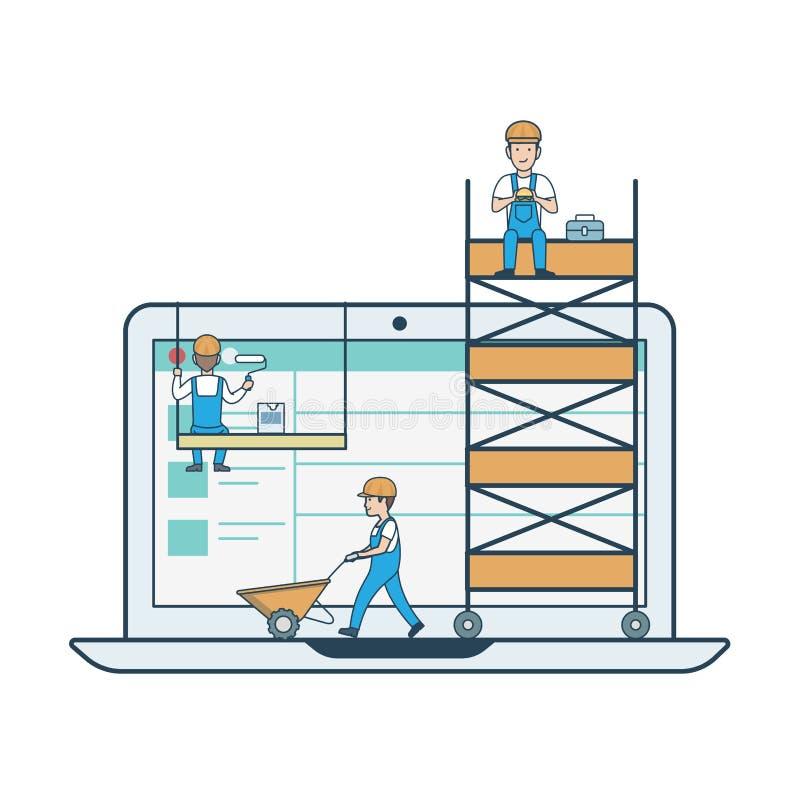Płaski liniowy webdesign rozwój Mikro pe ilustracji