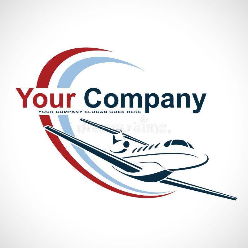 Płaski loga projekt Kreatywnie wektorowa ikona z samolotem i elipsa kształtujemy również zwrócić corel ilustracji wektora obraz stock