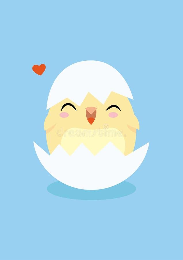 Płaski mały kurczak ilustracja wektor
