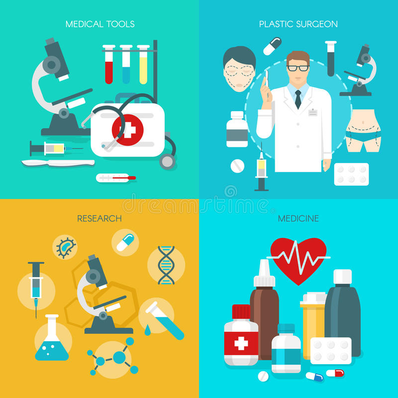 Płaski medycyny ikony set ilustracji