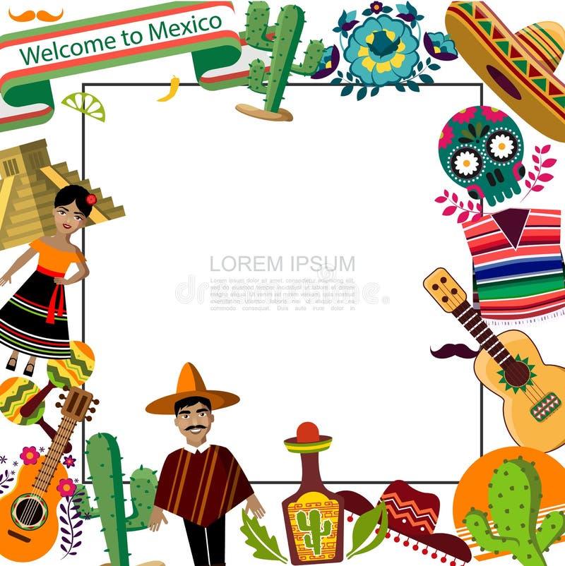 Płaski Meksyk podróży szablon royalty ilustracja