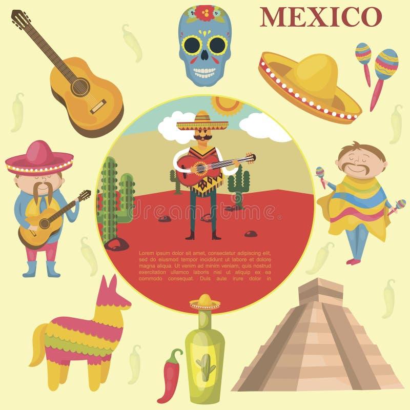 P?aski Meksyk Round poj?cie ilustracja wektor