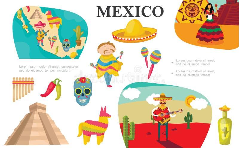 Płaski Meksykański elementu skład royalty ilustracja