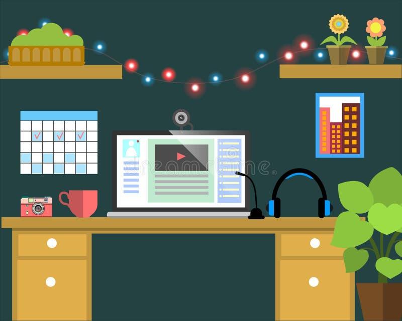 Płaski miejsce pracy sieci sztandar Płaskiego wideo blogger ilustracyjny workspace, pojęcia dla biznesu, zarządzanie, strategia,  ilustracji
