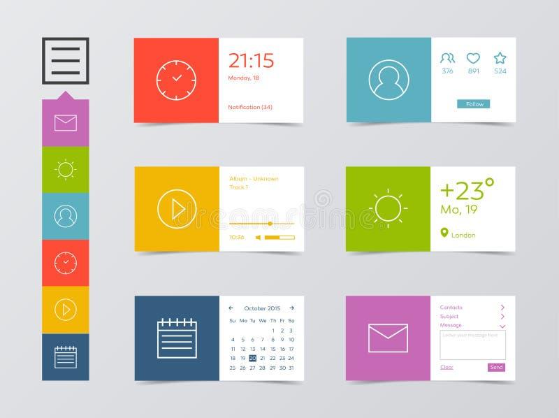 Płaski Mobilny sieci UI zestaw ilustracja wektor