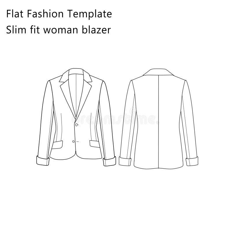 Płaski moda szablon - Szczupły Dysponowany kobieta blezer ilustracja wektor