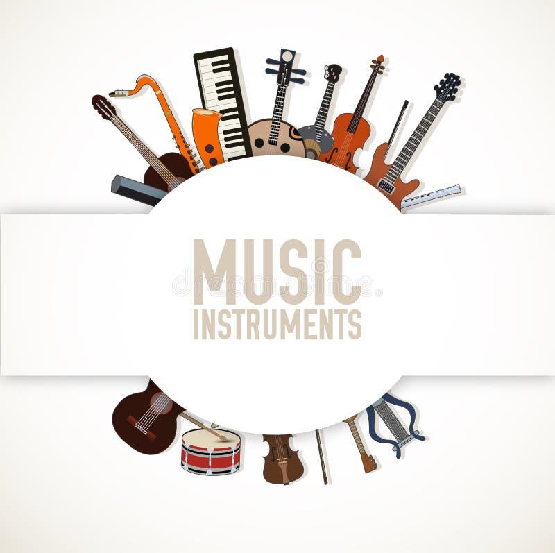 Płaski muzycznych instrumentów tła pojęcie wektor ilustracja wektor