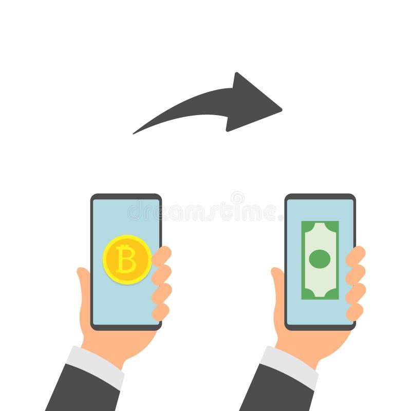 Płaski nowożytnego projekta pojęcie cryptocurrency technologia, bitcoin wymiana, bitcoin kopalnictwo, mobilna bankowość Ręki mien ilustracji