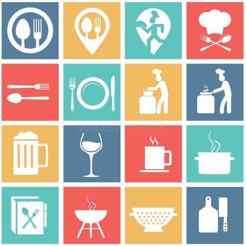 Płaski nowożytny jedzenie i kucharstwo royalty ilustracja