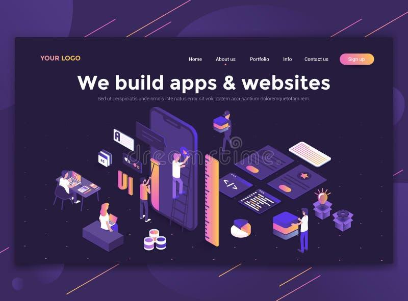 Płaski Nowożytny projekt strona internetowa szablon - budujemy apps i websi ilustracji