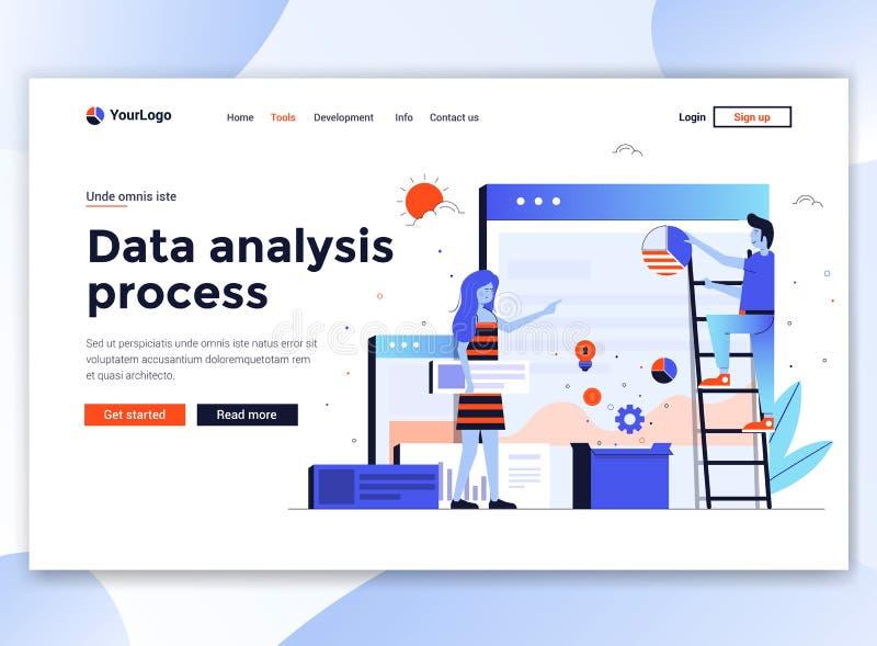 Płaski Nowożytny projekt strona internetowa szablon - dane analizy proces ilustracji