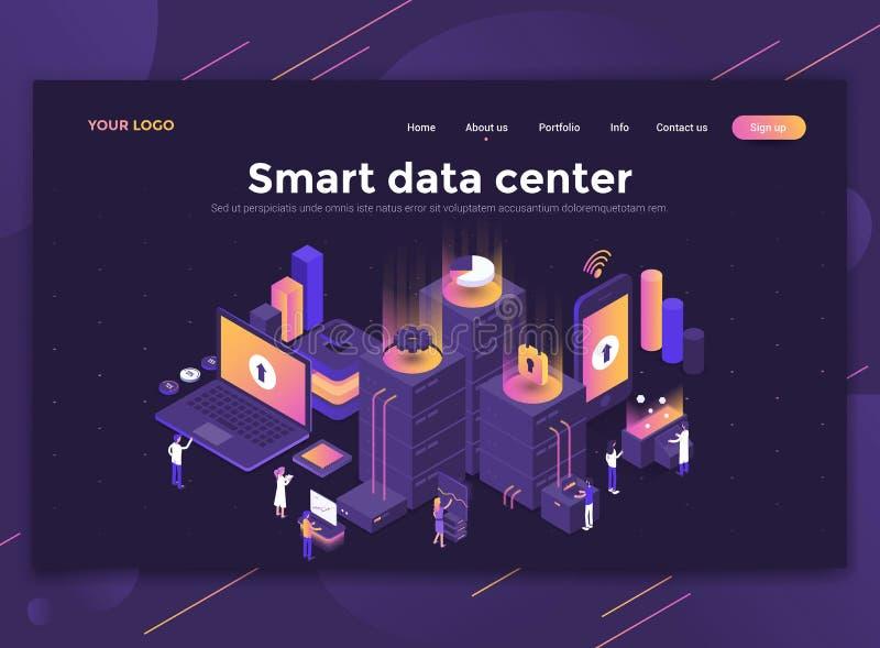 Płaski Nowożytny projekt strona internetowa szablon - Mądrze centrum danych ilustracji