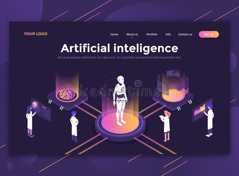 Płaski Nowożytny projekt strona internetowa szablon - Sztuczna inteligencja ilustracja wektor