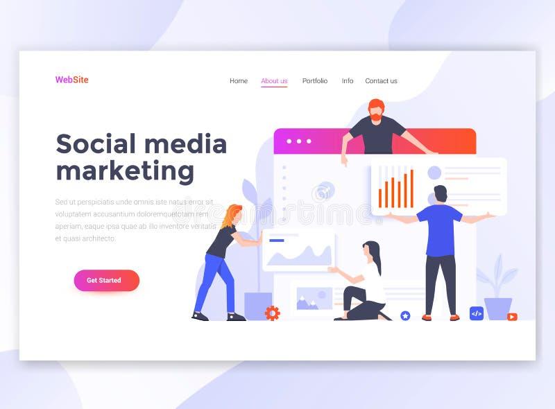 Płaski Nowożytny projekt wesite szablon - Ogólnospołeczny medialny marketing ilustracja wektor