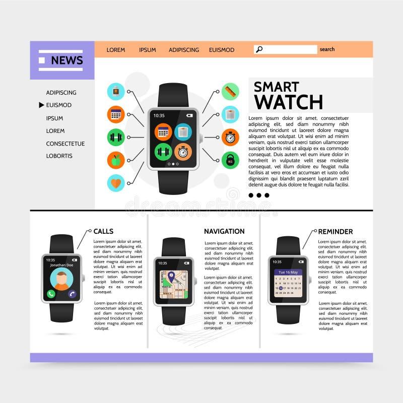 Płaski Nowożytny technologii strony internetowej szablon ilustracja wektor