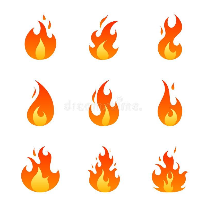 Płaski ogień Płonie kreskówkę ilustracji