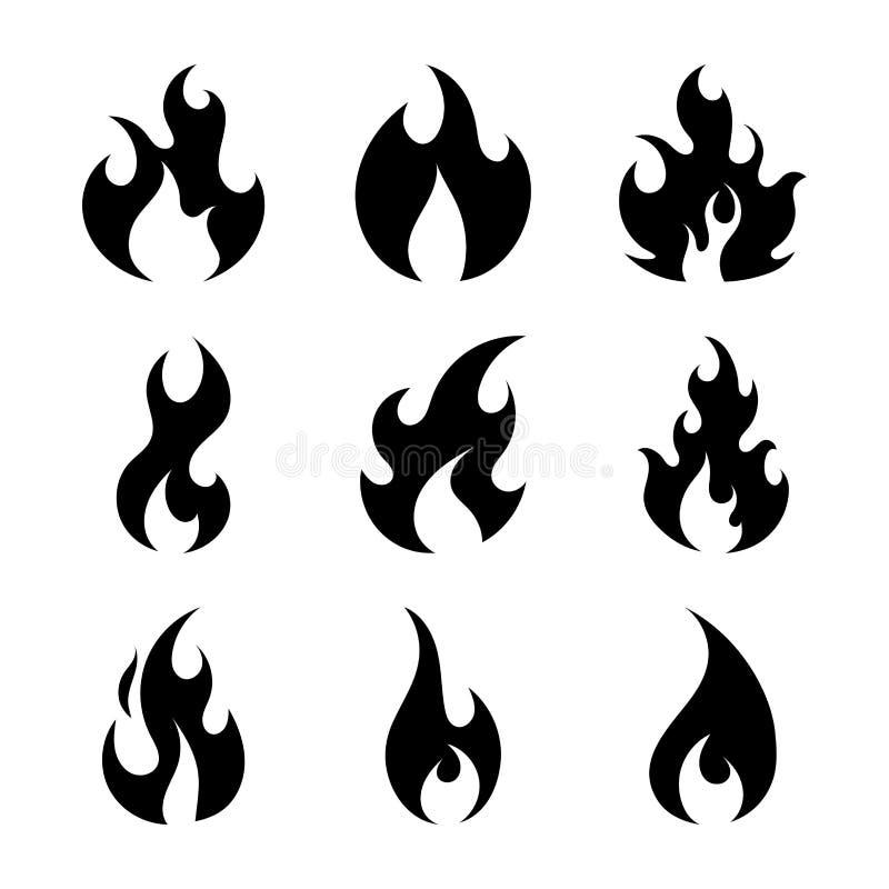 Płaski ogień Płonie prostego ilustracja wektor