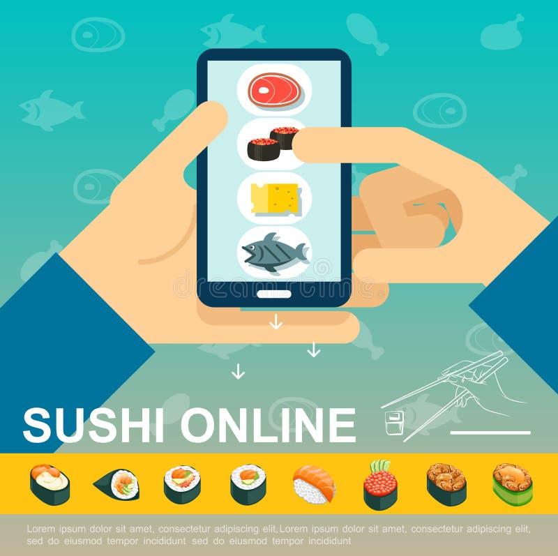 Płaski Online Japoński Karmowy Doręczeniowy szablon ilustracji