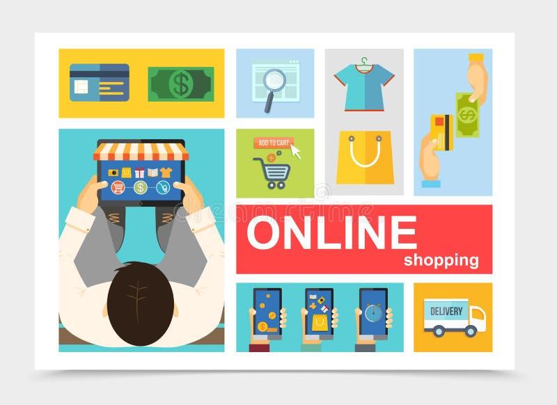 Płaski Online zakupy skład ilustracja wektor
