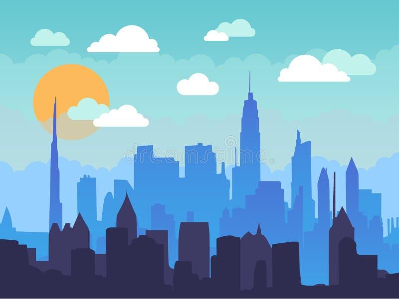 Płaski pejzaż miejski w ranku z niebieskim niebem, biel chmurami i słońcem, Miastowa miasto linii horyzontu ilustracja ilustracja wektor