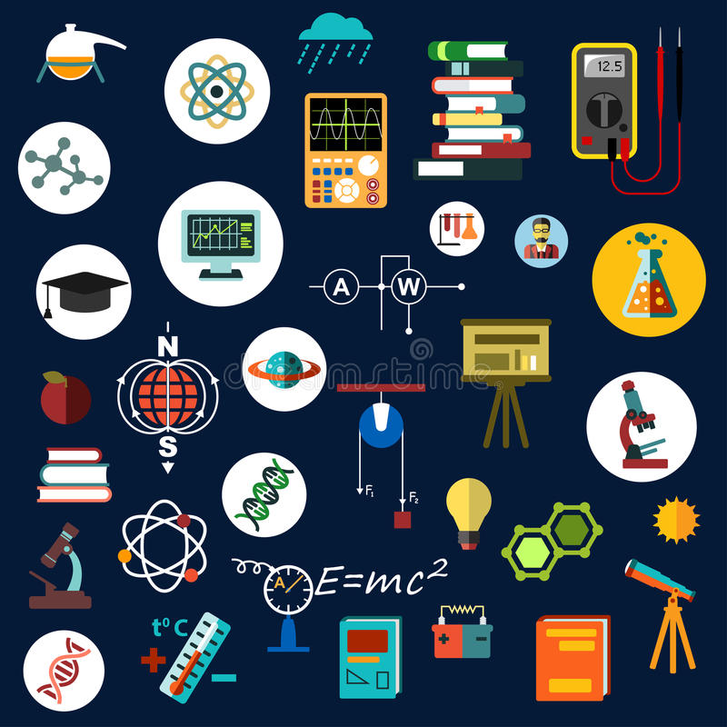 Płaski physics nauki wyposażenie i symbole ilustracji