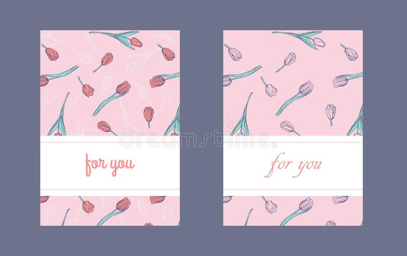 Płaski pionowo pakować lub pocztówkowy projekta szablon z ręka rysującymi tulipanami royalty ilustracja