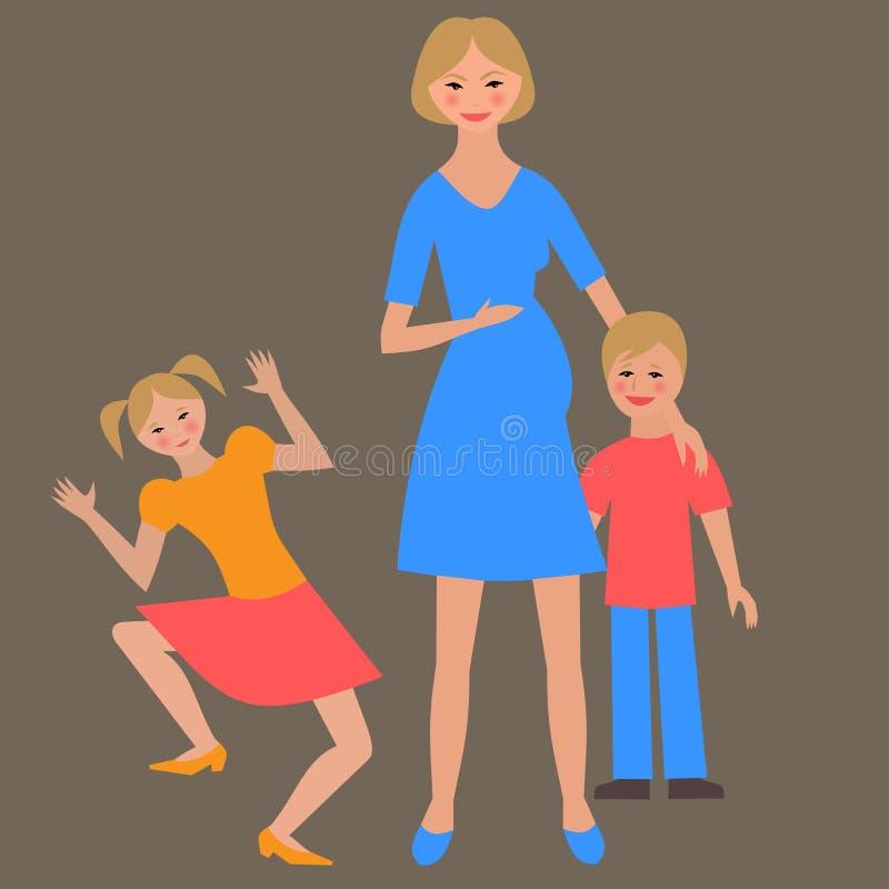 Płaski portret szczęśliwa rodzina z matką i dziećmi royalty ilustracja