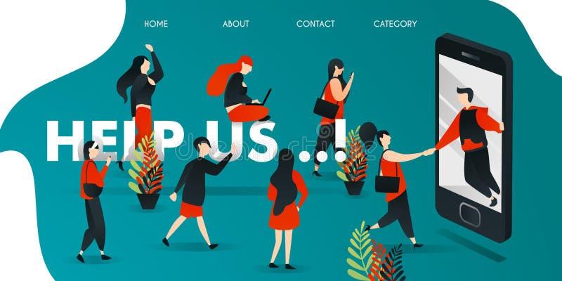 płaski postać z kreskówki wektorowa ilustracja dla biznesu, marketing, sieć mężczyźni dostają z smartphone pomaga ludzi ludzie bi royalty ilustracja