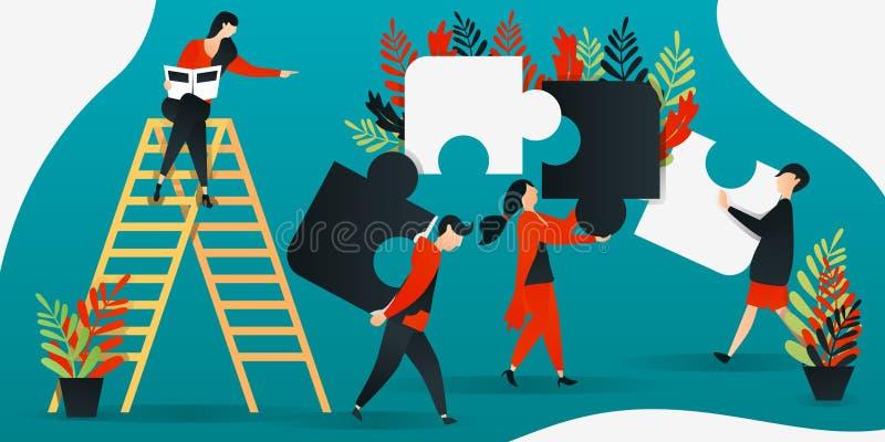 płaski postać z kreskówki wektorowa ilustracja dla budowy, przywódctwo, praca zespołowa, biznes ludzie stawia wpólnie łamigłówkę, ilustracja wektor