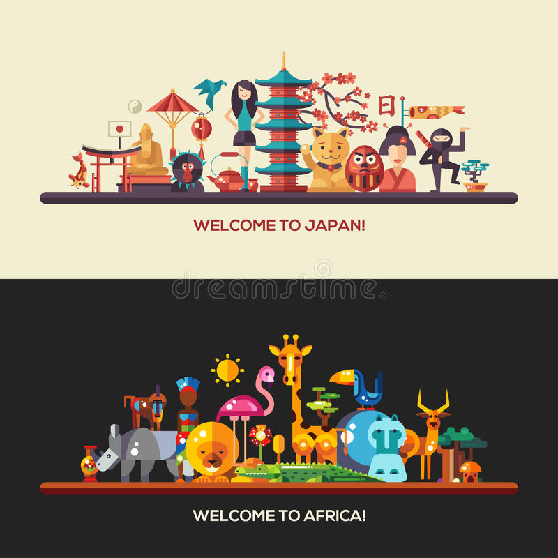 Płaski projekt Afryka, Japonia podróż sztandary ustawiający royalty ilustracja