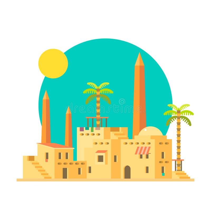 Płaski projekt błoto mieści wioskę z obeliskiem ilustracja wektor