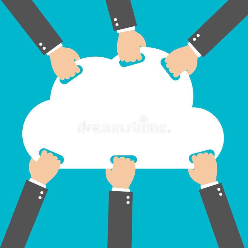 Płaski projekt, biznesmen wskazane chmury, Obłoczny Oblicza pomysłu pojęcie ilustracji