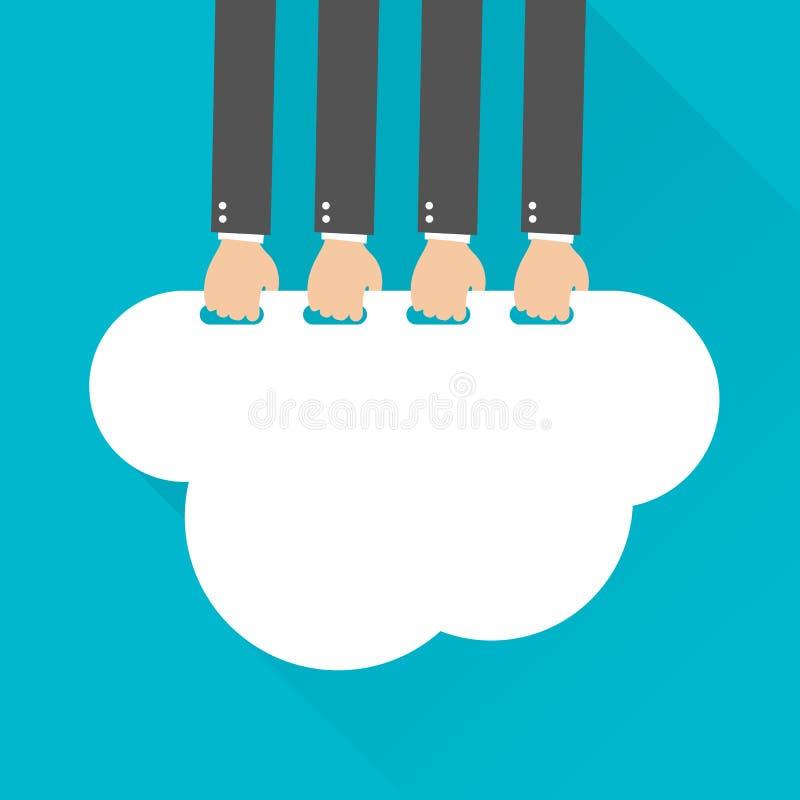 Płaski projekt, biznesmen wskazane chmury, Obłoczny Oblicza pomysłu pojęcie royalty ilustracja