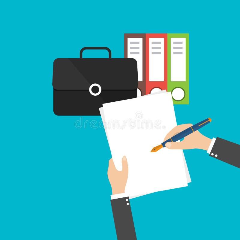 Płaski projekt, Biznesowych dokumentów projekta płaska ikona Ręki writing na białym papierze ilustracji