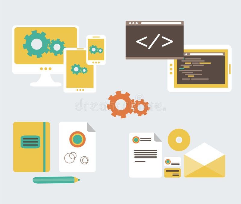 Płaski projekt biznesu oznakować w i rozwój ilustracja wektor