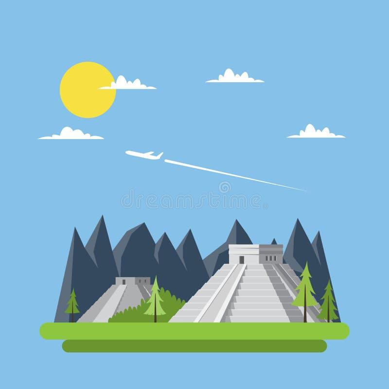 Płaski projekt Chichen Itza Meksyk ilustracja wektor