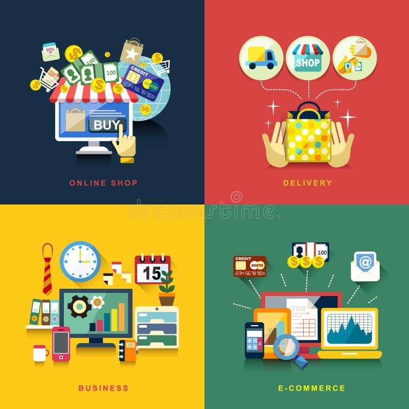 Płaski projekt dla handlu elektronicznego, dostawa, online zakupy, biznes ilustracja wektor